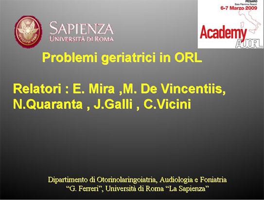 Problemi geriatrici in ORL